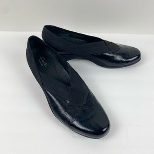 Clarks Patent leather slip on Size 10